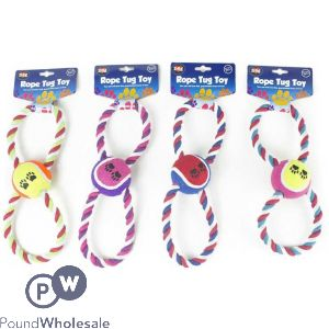 WORLD OF PETS BALL AND ROPE FIGURE 8 TUG TOY 4 ASSORTED COLOURS