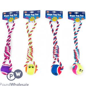 WORLD OF PETS BALL AND ROPE KNOT TUG TOY 4 ASSORTED COLOURS