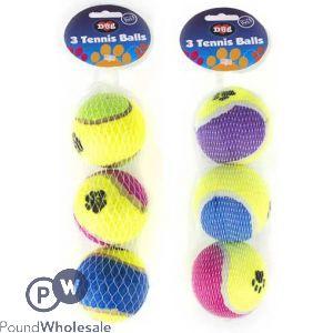 WORLD OF PETS TENNIS BALLS ASSORTED 3 PACK