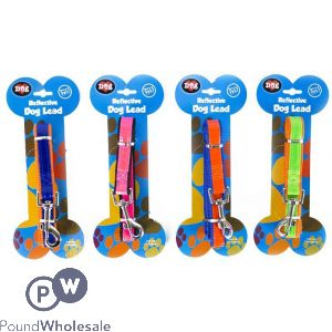 WORLD OF PETS REFLECTIVE DOG LEAD 4 ASSORTED COLOURS