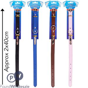 WORLD OF PETS FAUX LEATHER MEDIUM DOG COLLAR ASSORTED COLOURS