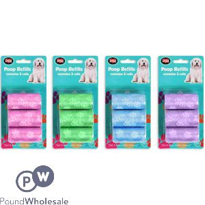 WORLD OF PETS CLEAN UP REFILLS 3 PACK 4 ASSORTED COLOURS