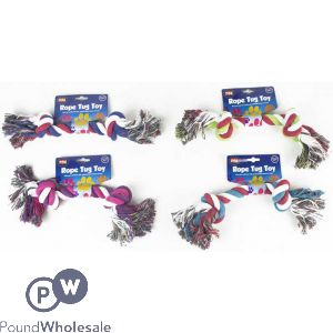 WORLD OF PETS COTTON ROPE TUG TOY 4 ASSORTED COLOURS
