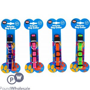 WORLD OF PETS REFLECTIVE DOG COLLAR 4 ASSORTED