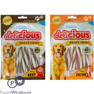 WORLD OF PETS DELICIOUS MEATY TWISTS ASSORTED BEEF & CHICKEN FLAVOUR