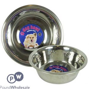WORLD OF PETS STAINLESS STEEL EMBOSSED DOG BOWL 950ML