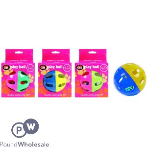 WORLD OF PETS DOUBLE ACTION CAT PLAY BALL ASSORTED