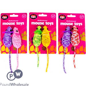 WORLD OF PETS MULTICOLOURED MOUSE TOYS ASSORTED COLOURS