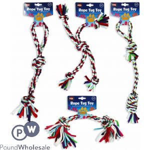 WORLD OF PETS CLOTH ROPE TUG TOYS 4 ASSORTED