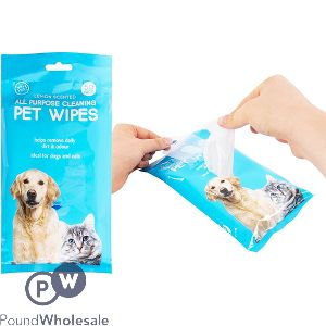 WORLD OF PETS LEMON SCENTED PET WIPES 50 PACK