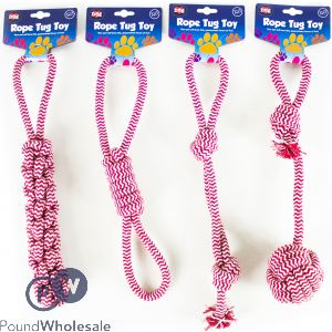 WORLD OF PETS ROPE TUG TOY RED & WHITE 4 ASSORTED STYLES