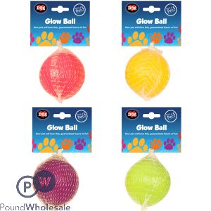 WORLD OF PETS GLOW BALL 4 ASSORTED COLOURS
