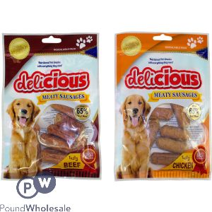 WORLD OF PETS SOFT MEATY SAUSAGE DOG TREATS ASSORTED CHICKEN & BEEF FLAVOUR