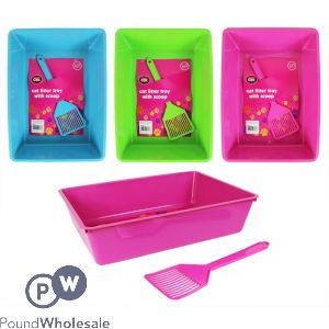 WORLD OF PETS CAT LITTER TRAY WITH SCOOP 3 ASSORTED COLOURS