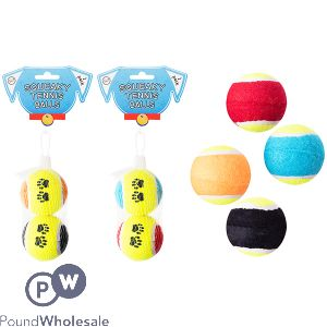 WORLD OF PETS SQUEAKY TENNIS BALL DOG TOY 2 PACK