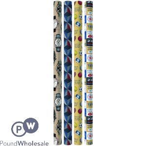 GIFTMAKER CLASSIC MALE GIFT WRAP 3M