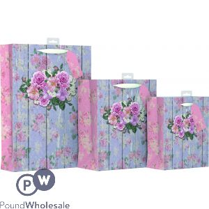 GIFTMAKER VINTAGE FLORAL DESIGN GIFT BAG MEDIUM