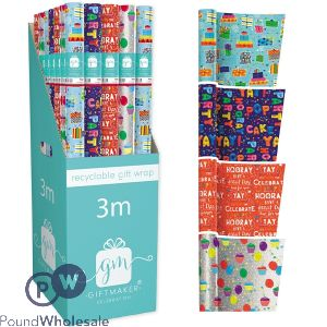 GIFTMAKER RECYCLABLE PARTY GIFT WRAP 4 ASSORTED 3M CDU